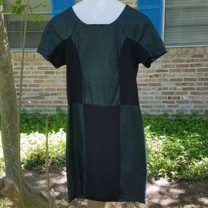 Urban Outfitters faux leather green/black dress